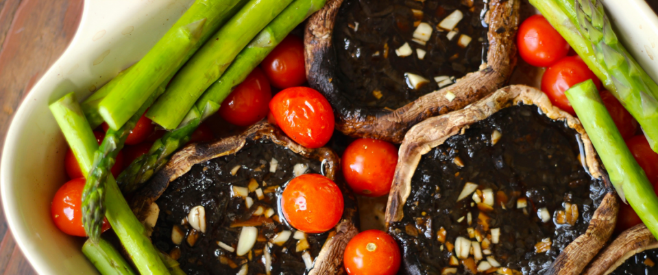 Roasted Balsamic Portobellos with Cherry Tomatoes and Asparagus