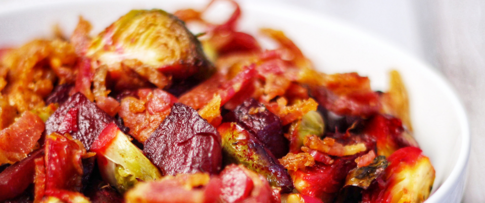 Roasted Beets and Brussels with Bacon
