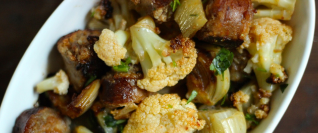 Roasted Cauliflower and Fennel with Sausage