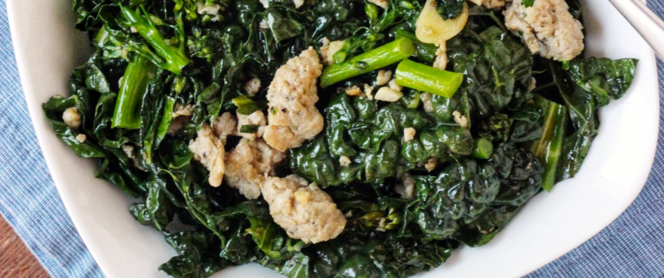 Stir-Fried Greens with Sausage (AIP) - Real Plans