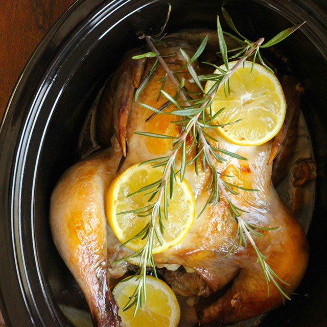 Slow Cooker Roast Chicken With Lemon And Garlic - Real Plans