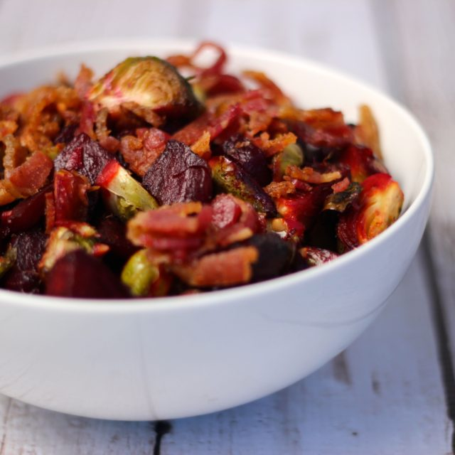 Roasted Beest and Brussels with Bacon