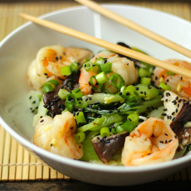 Shrimp Stirfry with Mushrooms and Greens