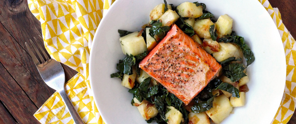 Whole30 Kale and White Sweet Potato Hash with Salmon - Real Plans