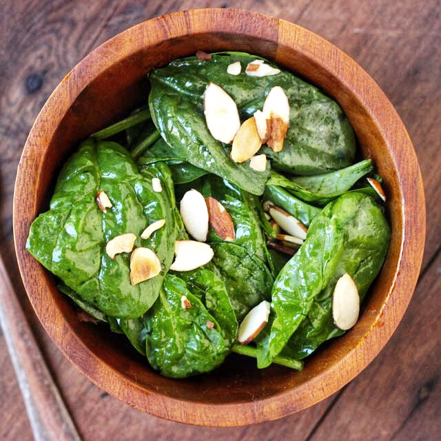 Spinch Mint Salad with Almonds - Real Plans